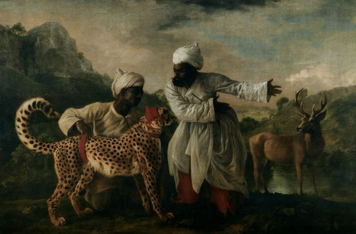 George Stubbs Reproductions-Indian Cheetah with Two Servants and a Deer, 1765