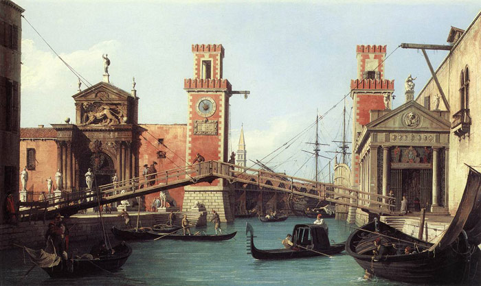 Paintings Reproductions Canaletto, Giovanni Antonio Canal View of the Entrance to the Arsenal, 1732