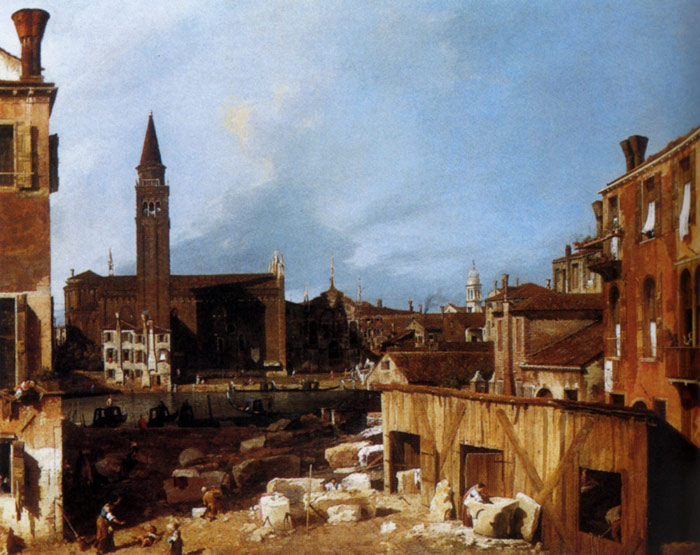 Paintings Reproductions Canaletto, Giovanni Antonio Canal Stonemason's Yard, 1727