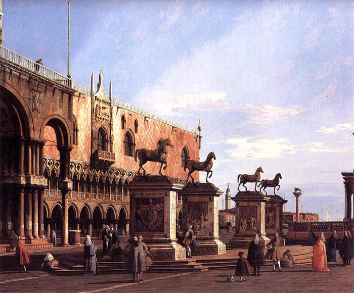 Paintings Reproductions Canaletto, Giovanni Antonio Canal Capriccio: the Horses of San Marco in the Piazzetta, 1743