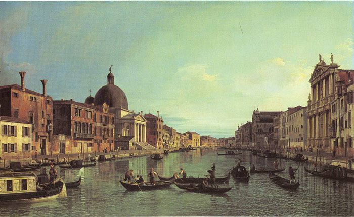 Paintings Reproductions Canaletto, Giovanni Antonio Canal Grand Canal: Looking South-West from the Chiesa degli Scalzi to the Fondamenta della croce, with San Simeone Piccolo, 17