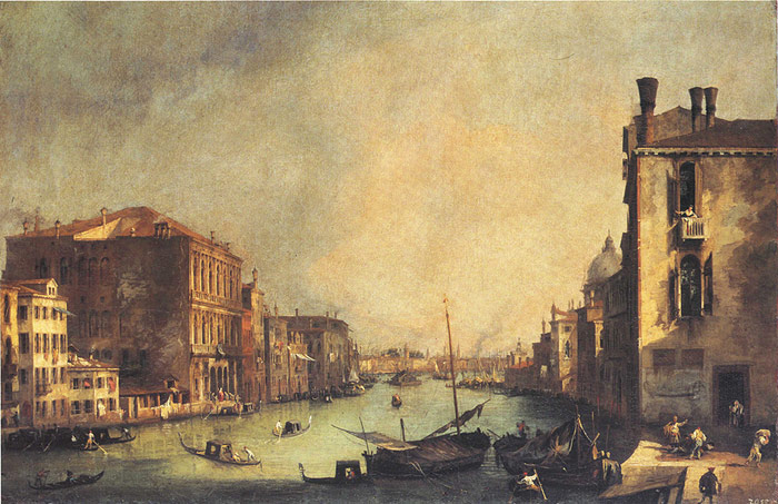 Paintings Reproductions Canaletto, Giovanni Antonio Canal Grand Canal: looking East, from the Campo San Vio, 1725