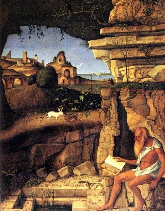 Giovanni Bellini Reproductions-Saint Jerome Reading, c.1480-1490