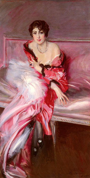Giovanni Boldini Reproductions-Portrait Of Madame Juillard In Red, 1912