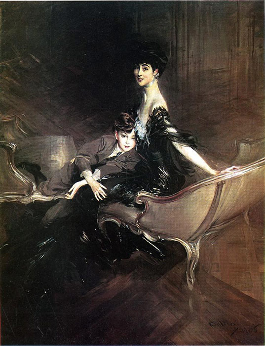 Paintings Reproductions Boldini, Giovanni Consuelo, Duchess of Marlborough, with Her Son Ivor Spencer-Churchill
