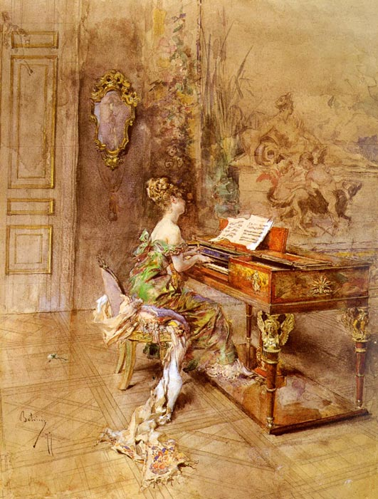 Giovanni Boldini Reproductions-La Pianista [The Lady Pianist]
