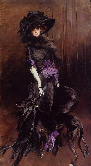 Giovanni Boldini Reproductions-Portrait of the Marchesa Luisa Casati, with a Greyhound, 1908