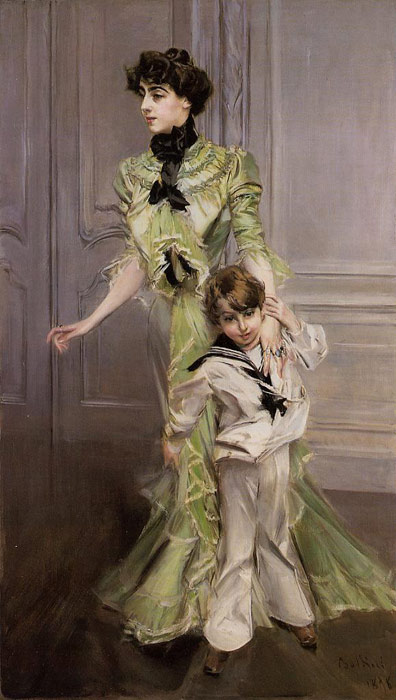 Paintings Reproductions Boldini, Giovanni Portrait of Madame Georges Hugo (n?e Pauleen Menard-Dozian) and Her Son, Jean, 1898