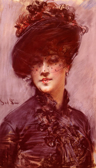Paintings Reproductions Boldini, Giovanni La Femme Au Chapeau Noir [Lady with a Black Hat]