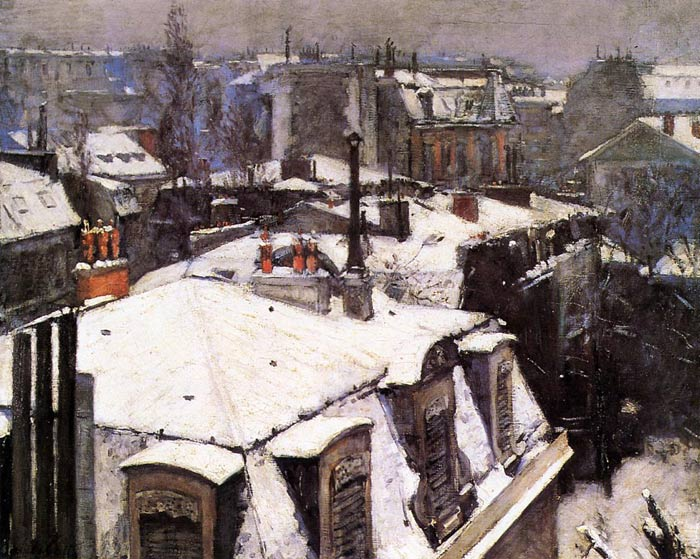 Gustave Caillebotte Reproductions-Rooftops Under Snow, 1878