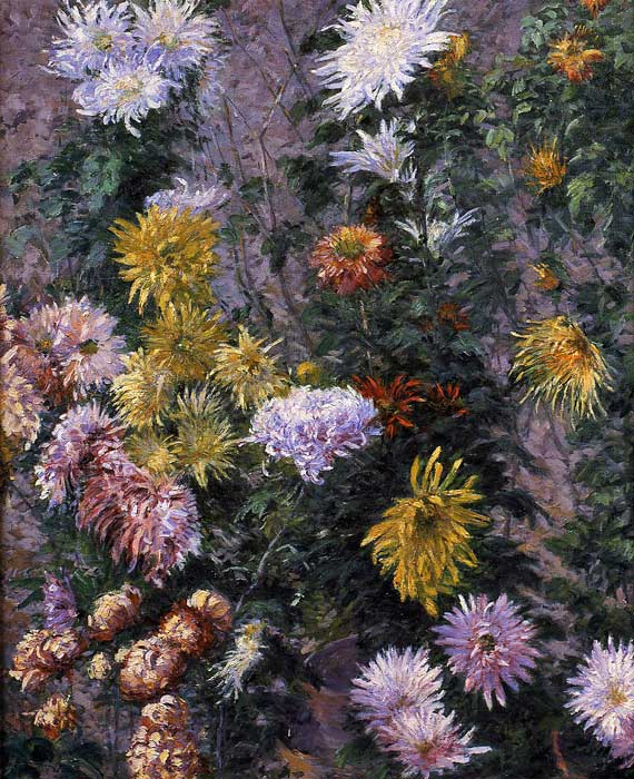 Paintings Reproductions Caillebotte, Gustave White and Yellow Chrysanthemums, Garden at Petit Gennevilliers, 1893