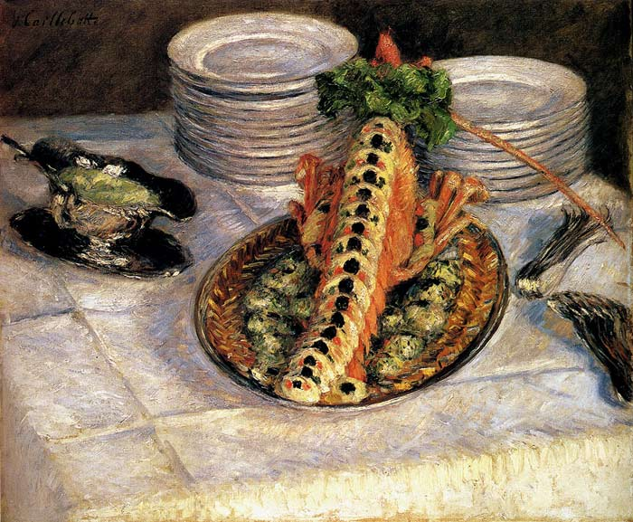 Gustave Caillebotte Reproductions-Still Life With Crayfish, c.1880-1882
