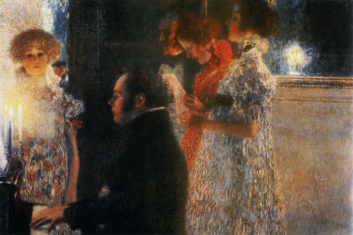 Gustave Klimt Reproductions-Schubert at the Piano, 1899