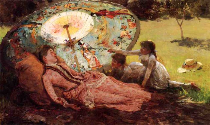 Paintings Reproductions Hamilton, Hamilton Lady with a Parasol