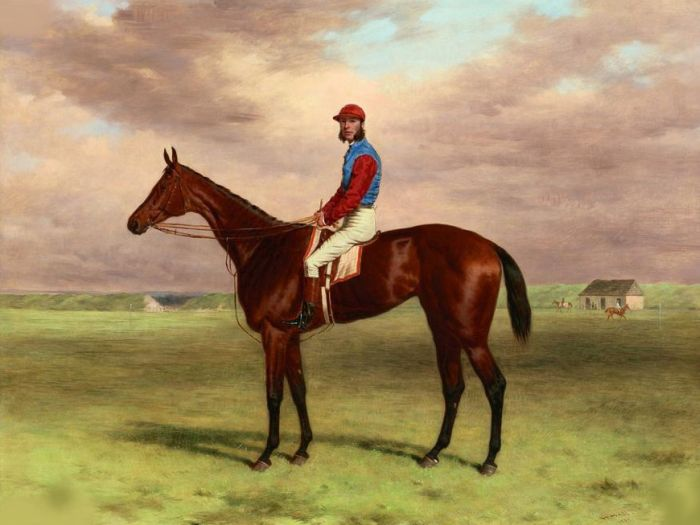 Paintings Reproductions Hall, Harry The Rev. John William King's ('Mr Launde's') bay filly 'Agility' with jockey up at Newmarket, 1870