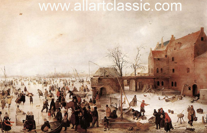 Paintings Reproductions Avercamp, Hendrick A Scene on the Ice near a Town,  1615