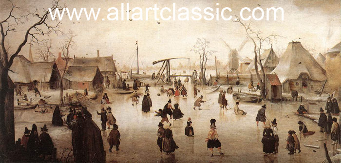 Paintings Reproductions Avercamp, Hendrick Ice Scene