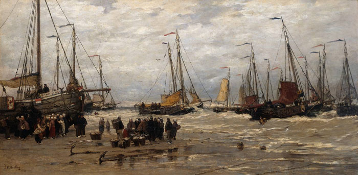 Paintings Reproductions Mesdag, Hendrik Willem Pinks in the Breakers, c.1875-1885