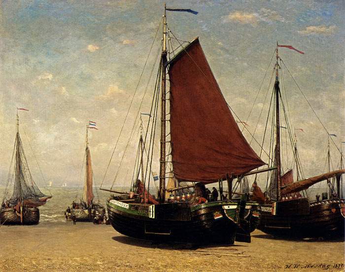 Paintings Reproductions Mesdag, Hendrik Willem The Bomschuit Prinses Sophie On The Beach, Scheveningen, 1870