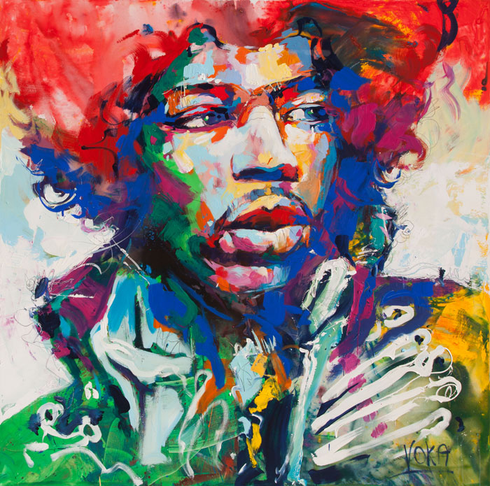 Custom PaintingsReproductions-Portrait of Jimi Hendrix