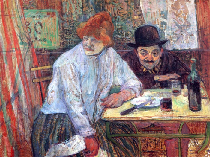 Henri de Toulouse- Lautrec Reproductions-At the Cafe La Mie