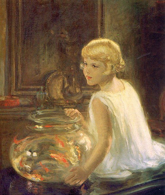 Henry Salem Hubbell Reproductions-Rosemary and the Goldfish, 1930