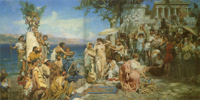 Henryk Hector Siemiradzki Reproductions-Phryne at the Festival of Poseidon in Eleusin, 1889