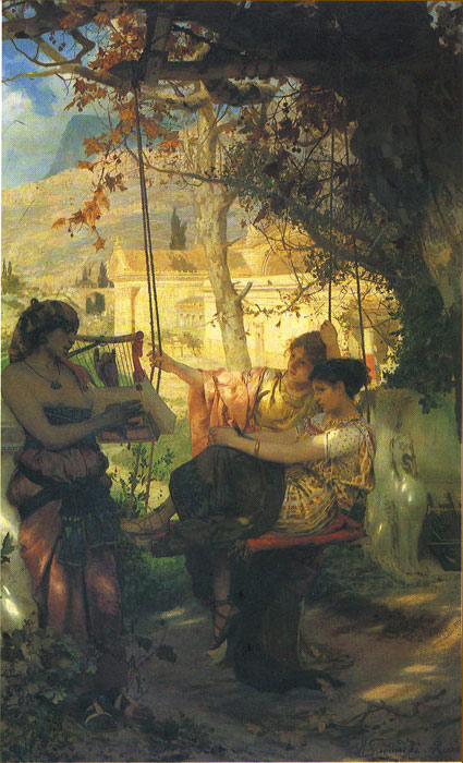 Paintings Reproductions Siemiradzki, Henryk Hector The s Song of Slaves, 1884