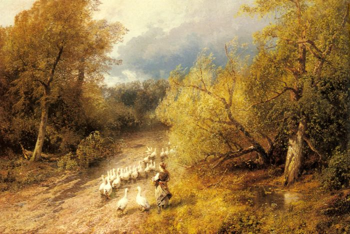 Paintings Reproductions Herzog, Herman Girl with Geese