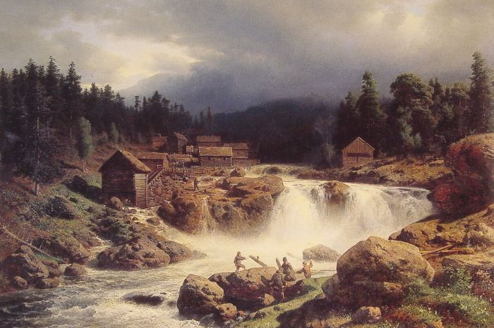 Herman Herzog Reproductions-Norwegian Landscape, 1857