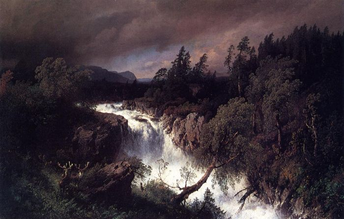 Paintings Reproductions Herzog, Herman Mountain Landscape and Waterfall, 1879