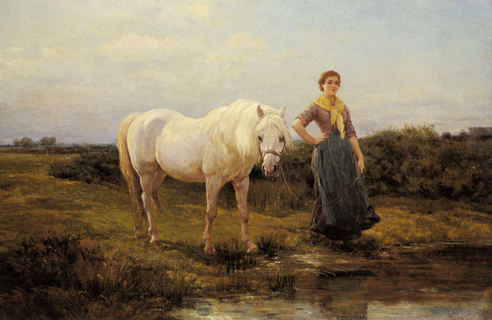 Heywood Hardy Reproductions-Noonday taking a Horse to Water, 1877