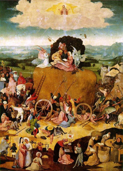 Hieronymus Bosch Reproductions-Haywain, central panel of the triptych, c.1485-1490