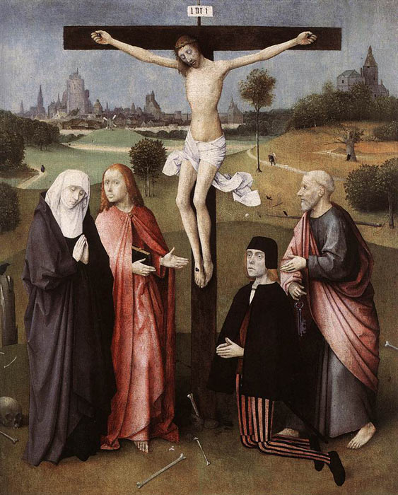 Hieronymus Bosch Reproductions-Crucifixion with a Donor, 1480-1485