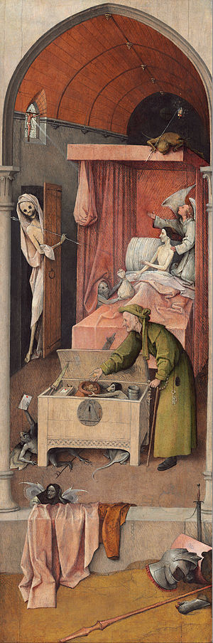 Hieronymus Bosch Reproductions-Death and the Miser, c.1490