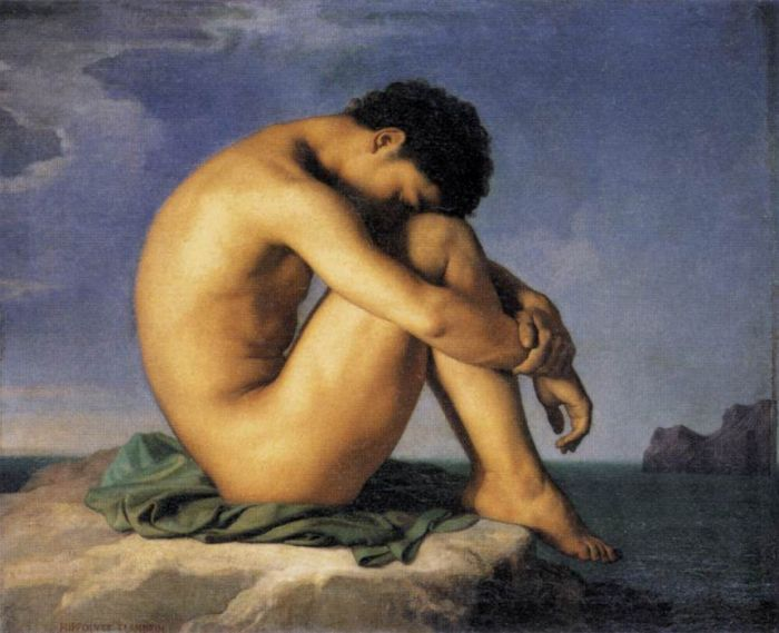 Hippolyte Flandrin Reproductions-Young Man by the Sea, 1837
