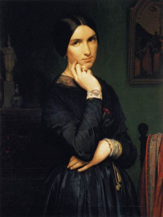 Hippolyte Flandrin Reproductions-Portrait of Madame Flandrin, 1846