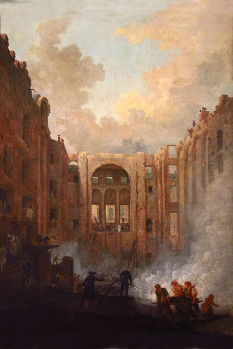 Paintings Reproductions Robert, Hubert Fire at the Opera House of the Palais-Royal in 1781