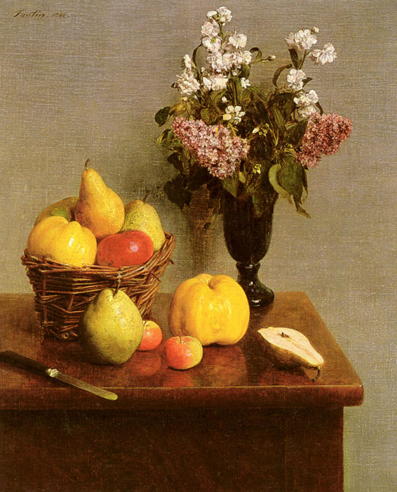 Paintings Reproductions Fantin-Latour, Ignace-Henri- Theodore Still Life With Flowers And Fruit