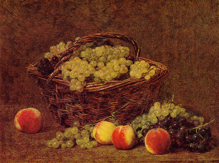 Fantin- Latour Reproductions-Basket of White Grapes and Peaches, 1895