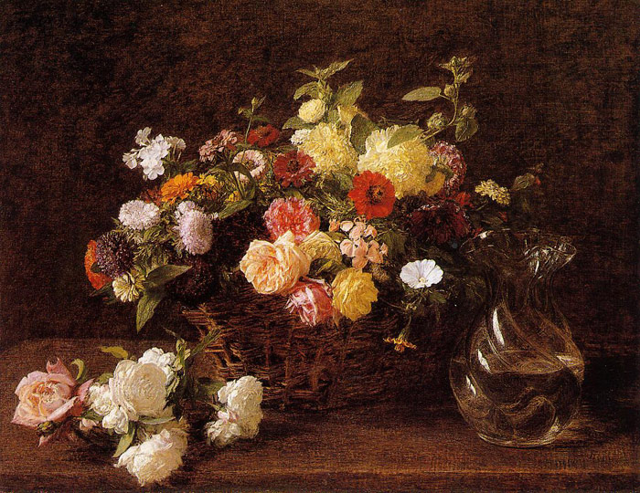 Fantin- Latour Reproductions-Basket of Flowers, 1892