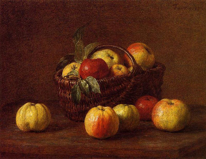 Apples in a Basket on a Table, , 1888 Fantin-Latour, Ignace-Henri- Theodore Painting Reproductions