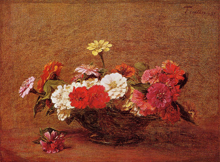Fantin- Latour Reproductions-Zinnias, 1891
