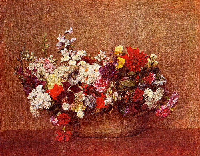 Fantin- Latour Reproductions-Flowers in a Bowl, 1886