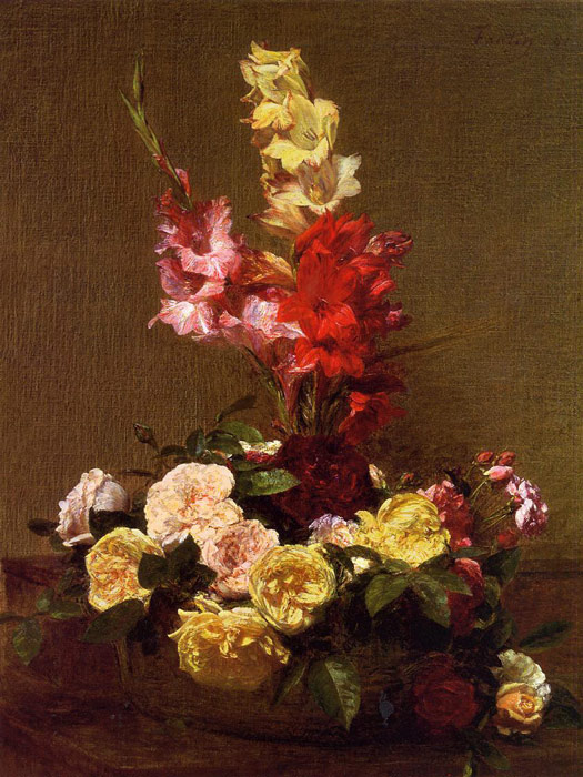 Fantin- Latour Reproductions-Gladiolas and Roses, 1881