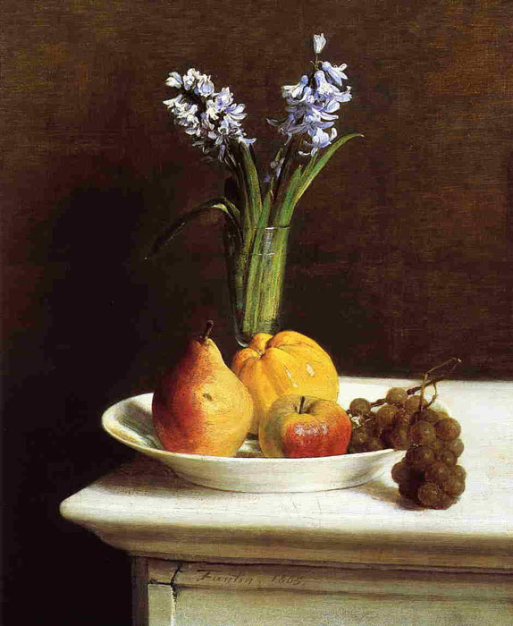 Fantin- Latour Reproductions-Still Life, Hyacinths and Fruit, 1865