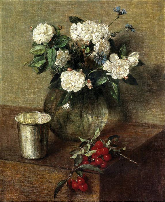 Fantin- Latour Reproductions-White Roses and Cherries, 1865