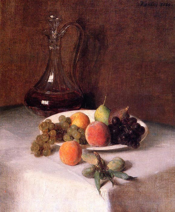 A Carafe of Wine and Plate of Fruit on a White Tablecloth, 1865 Fantin-Latour, Ignace-Henri- Theodore Painting Reproductions