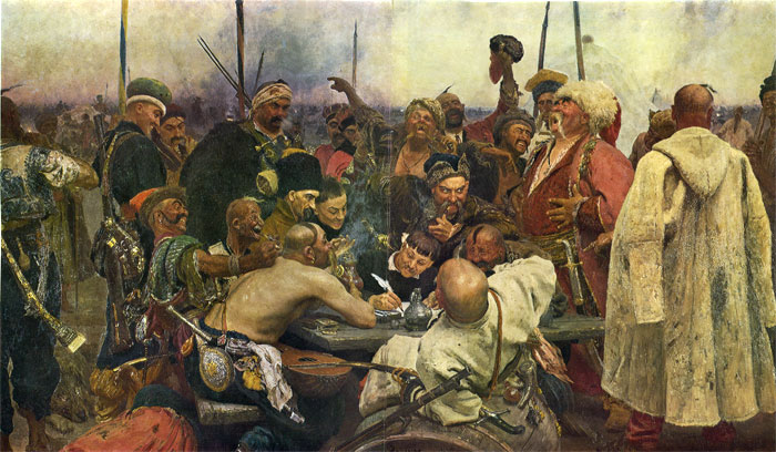 Iliya Efimovich Repin  Reproductions-Cossacks Write a Letter to Turkish Sultan, (1880-1891)