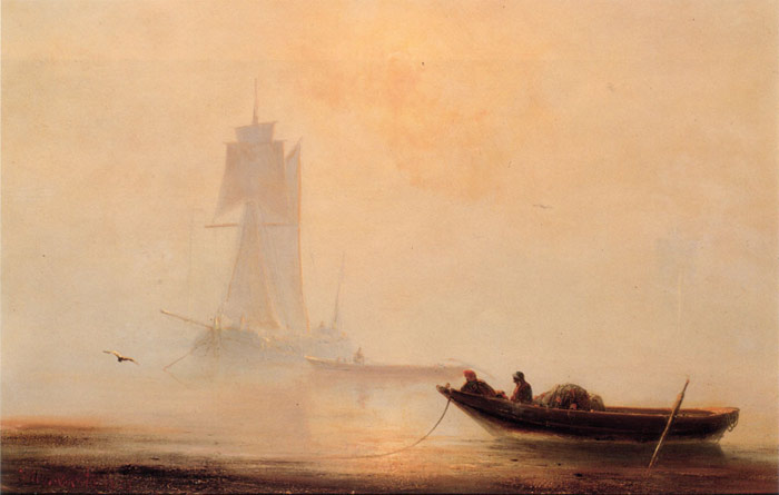 Paintings Reproductions Aivazovsky,  Ivan Constantinovich Fishing Boats In A Harbor, 1854